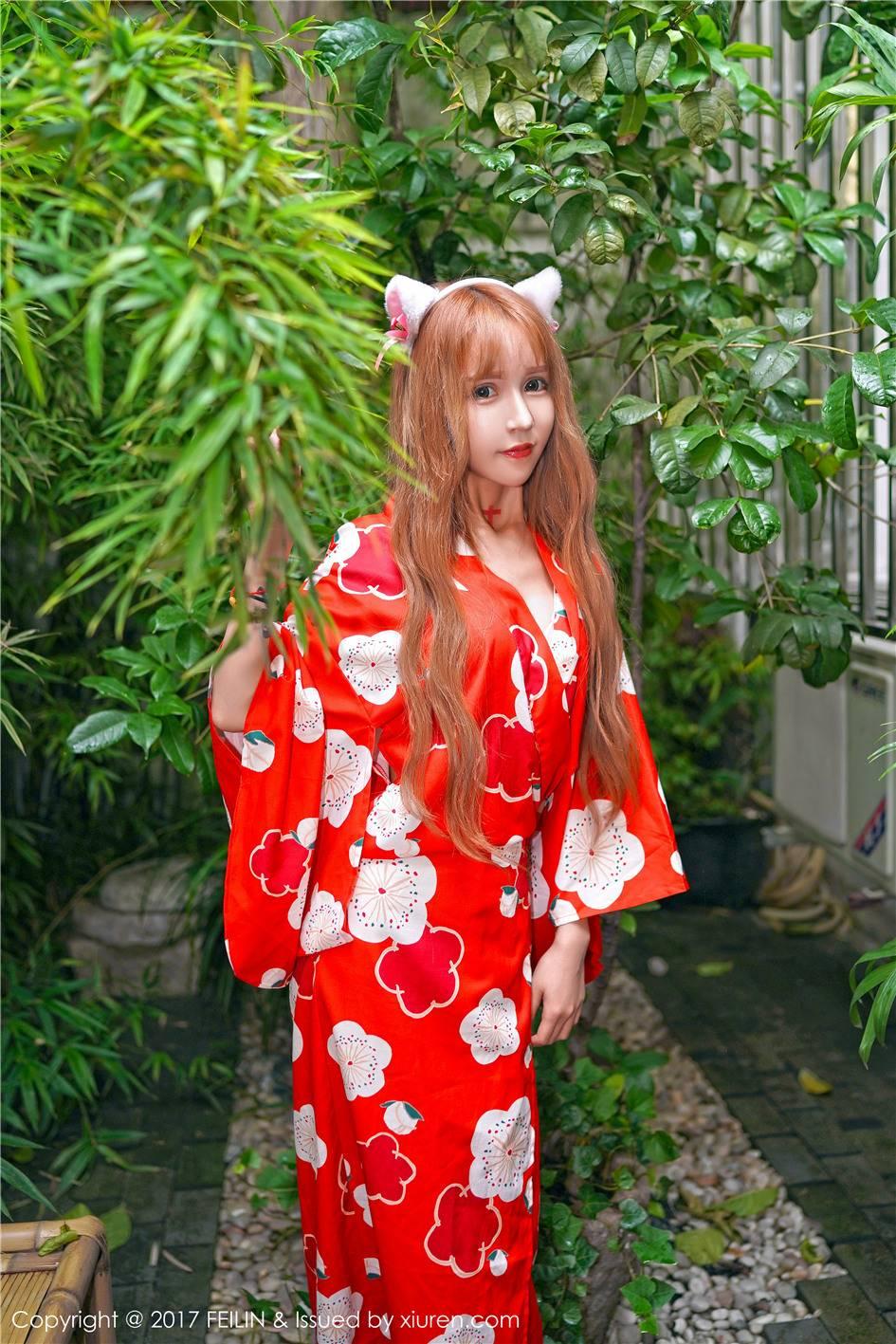 日系猫女装美女顾北北日式和服写真(9张)